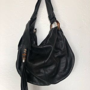 Gucci hobo black lambskin leather handbag